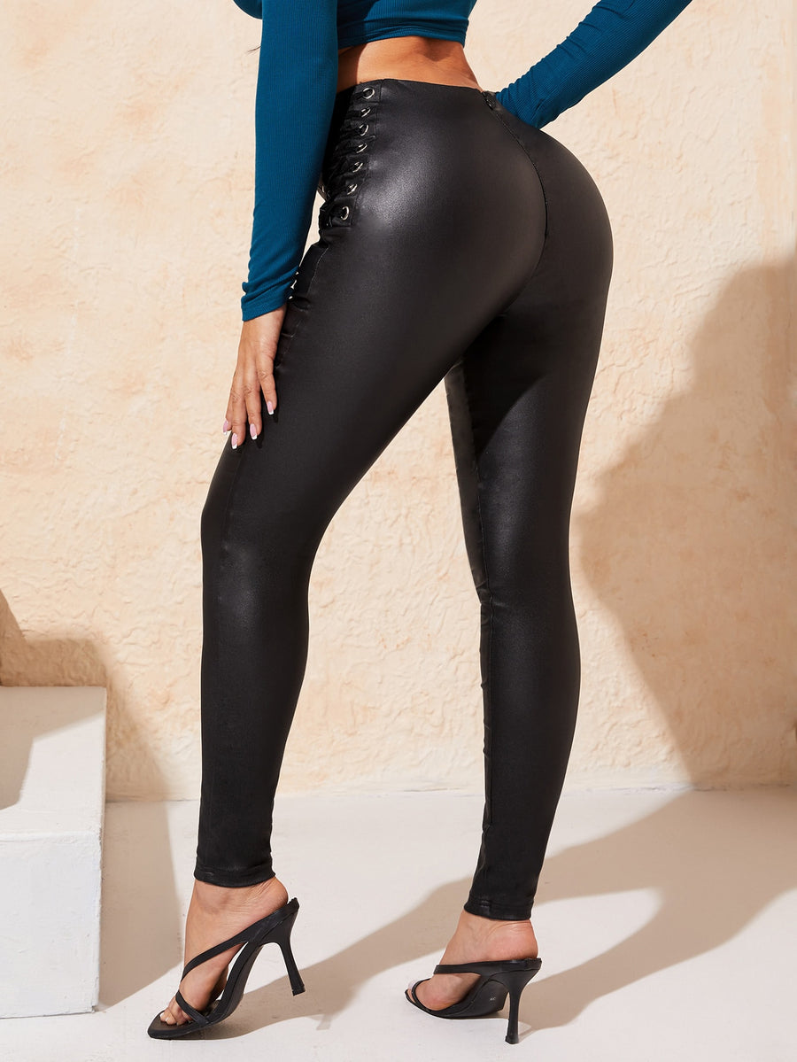 Leather Tie Legging