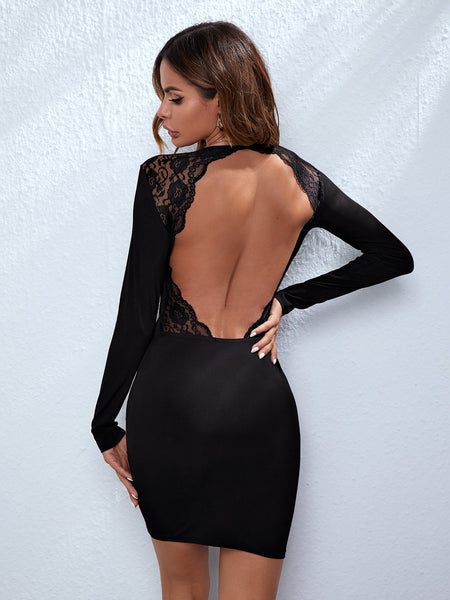Open Back Lace Trim Dress