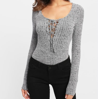 Grey Scoop Neck Long Sleeve