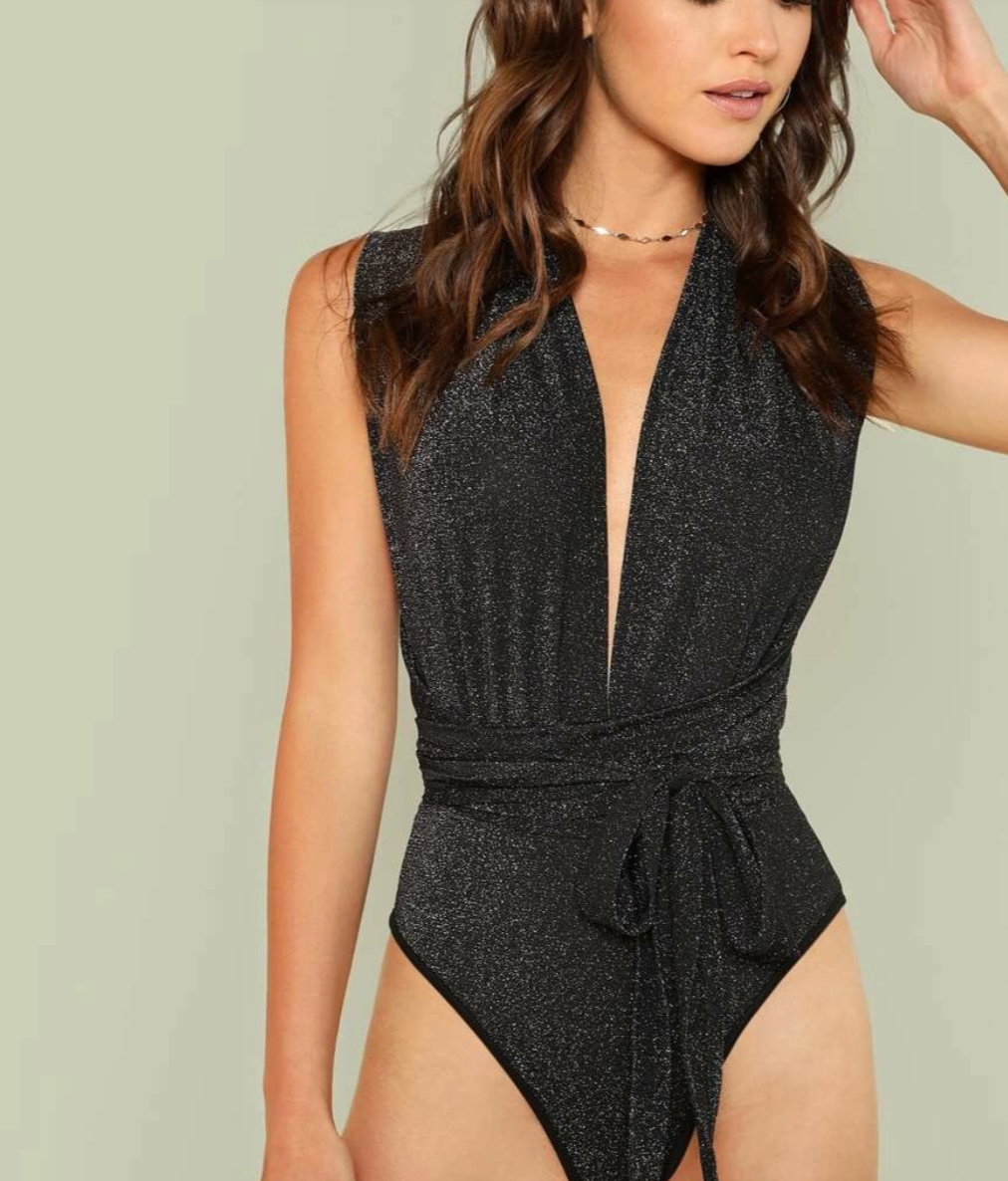 Criss Cross Plunge Bodysuit