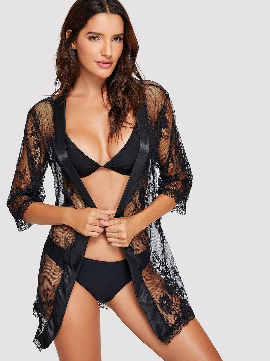 Satin Trim Lace Robe