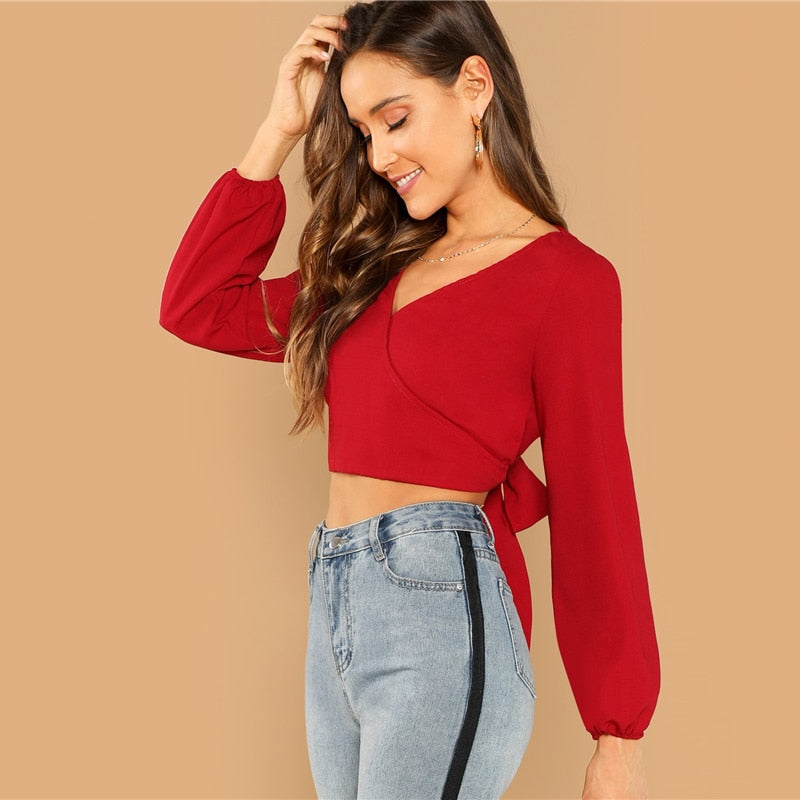 Backless Wrap Crop Top