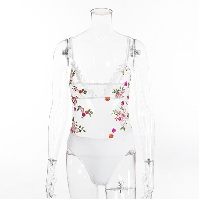 Deep V Flower Bodysuit