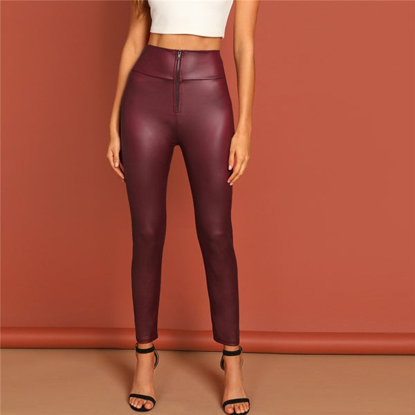 Burgundy Zipper Pant