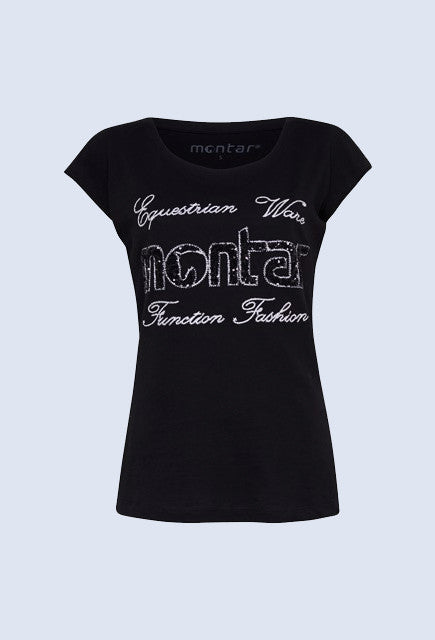 Montar T-shirt with sequin - Black - Uptown E Store