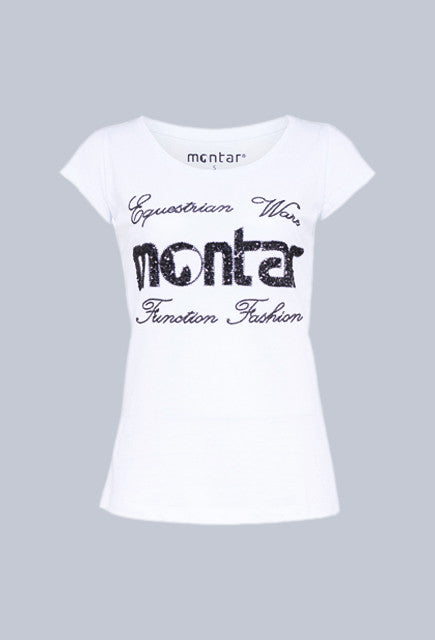Montar T-shirt with sequin - White - Uptown E Store