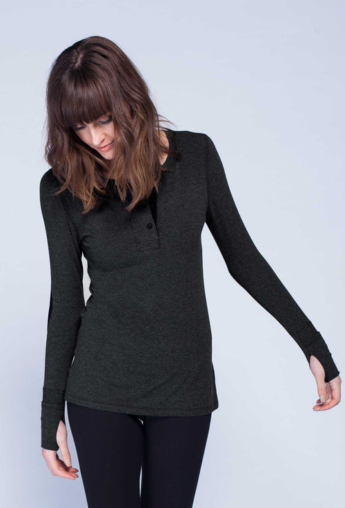 Noel Asmar Bamboo Henley - Charcoal Mix - Uptown E Store