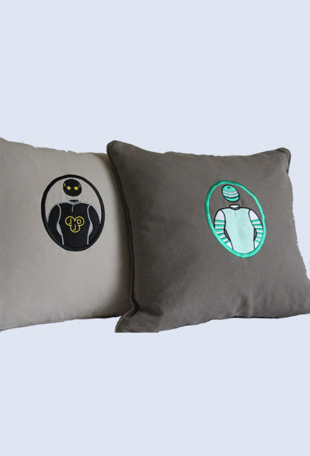 Luxury Personalised Cushion - Rider Colours