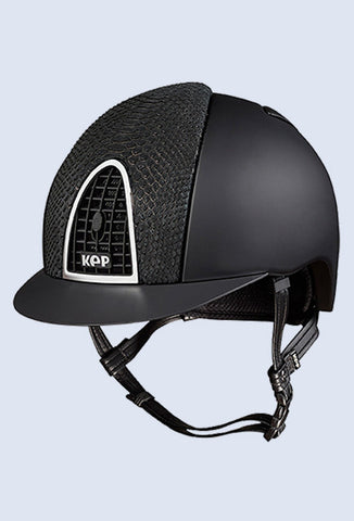 Kep Italia Cromo textile black with black grid and chrome frame
