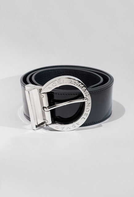 Noel Asmar Signature Leather Belt (Chrome Accents) - Black - Uptown E Store
