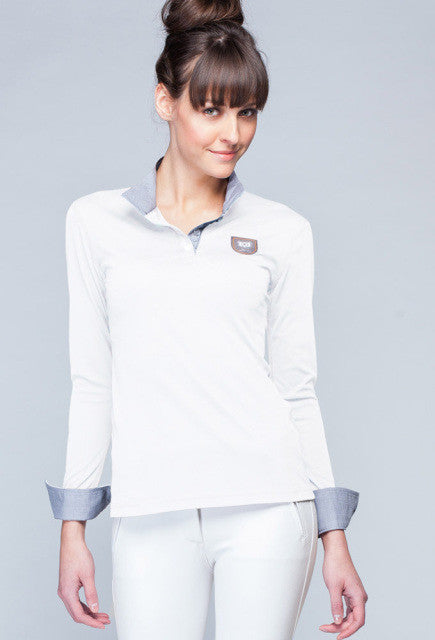 Noel Asmar Convertible Long Sleeve Polo- White - Uptown E Store
