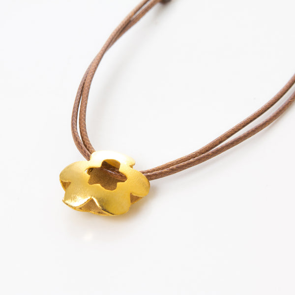 Double Clover Leather Necklace