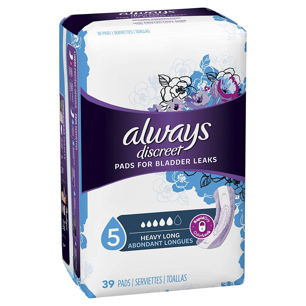 Always Discreet Pads for Women (Maximum) Long Pack of 39