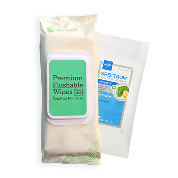 Clean Package (Because Flushable Wipes 50, Hand Sanitizing Wipes 20)