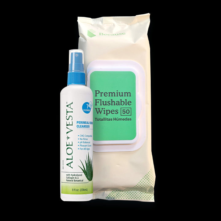 Cleansing Kit (Flushable Wipes, Aloe Vesta Spray)