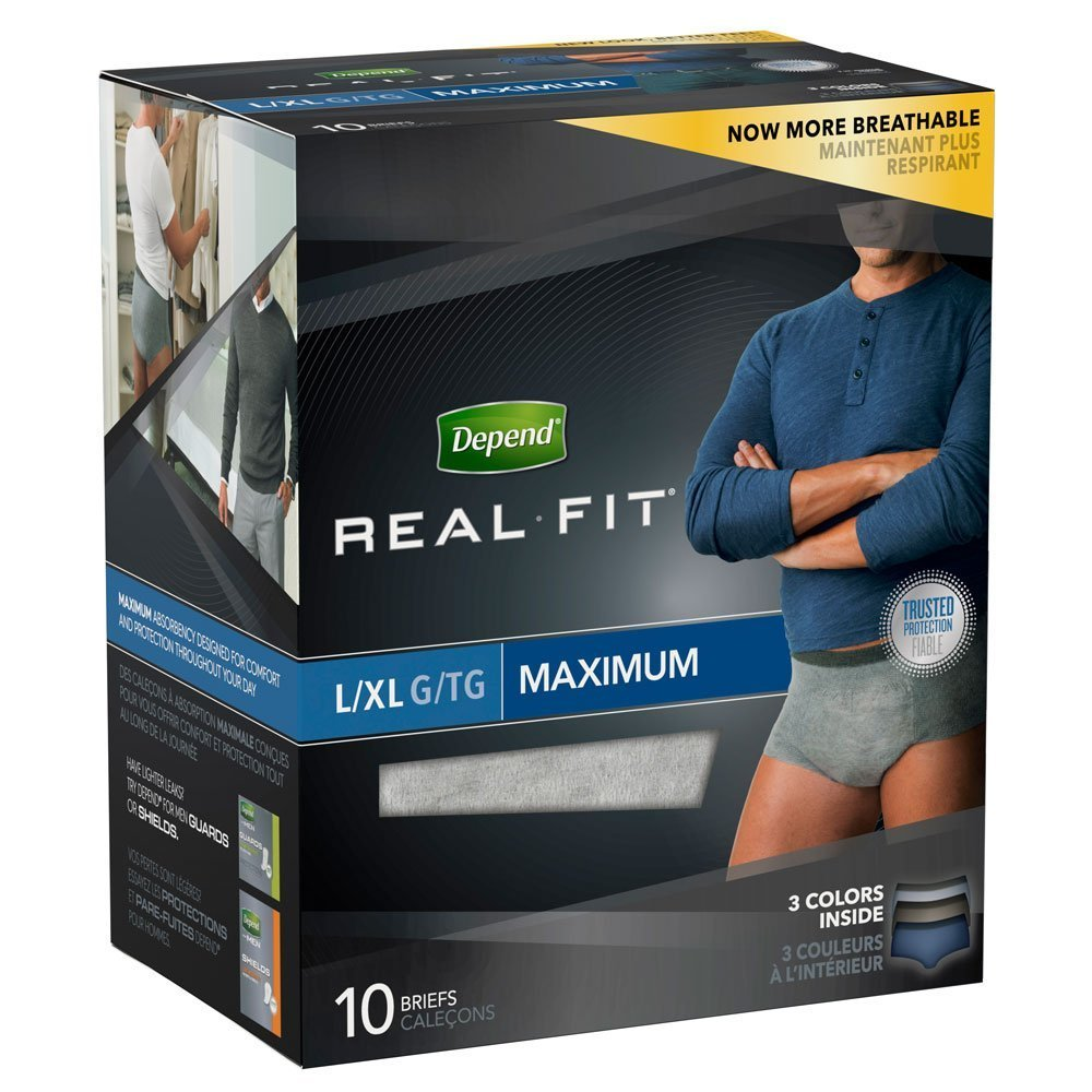 Depend Real Fit For Men (Maximum) Large Pack of 10