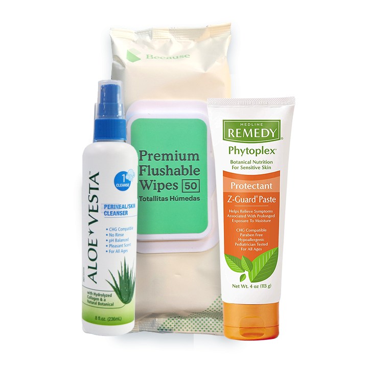 Premium Skin Care Package (Flushable wipes, Z-guard, Aloe Vesta Spray)