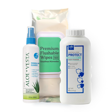 Soothe and Cleanse Package (Because Flushable Wipes 50 pack, Aloe Vesta 8 oz, Soothe and Cool Powder 4 oz)