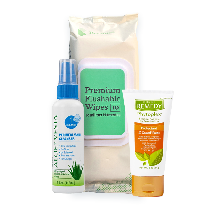 Travel Premium Skin Care Package (Flushable wipes, Z-guard, Aloe Vesta Spray)