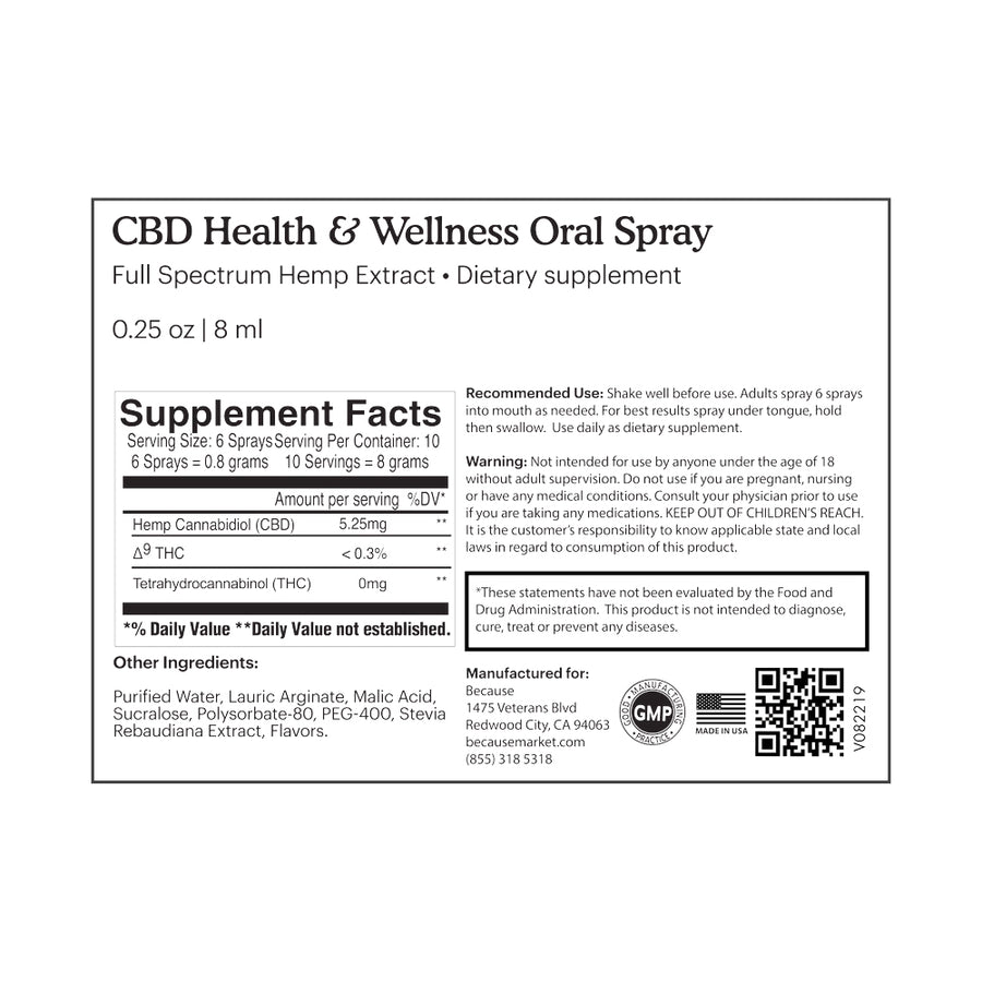 Because Hemp Extract Health and Wellness Oral Spray