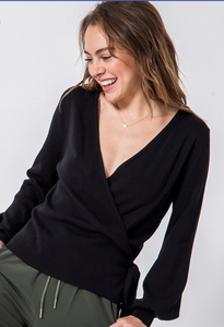 Black Bubble Sleeve Wrap Top