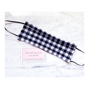 Black and White Gingham Face Mask