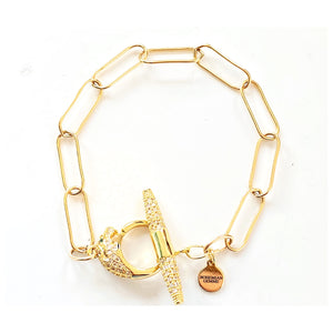 Beverly Tiger Toggle Gold Filled Linked Bracelet