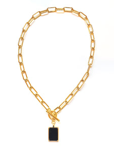 Dana Oval Linked Chain With Black Onyx Pendant  (Gold-Filled)