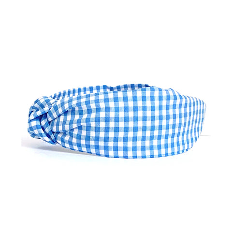 Blue Gingham Headband