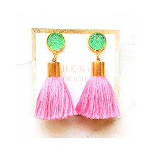 Pink and Mint Tassel Earrings