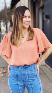 Hannah Peach Flowy Sleeve Top