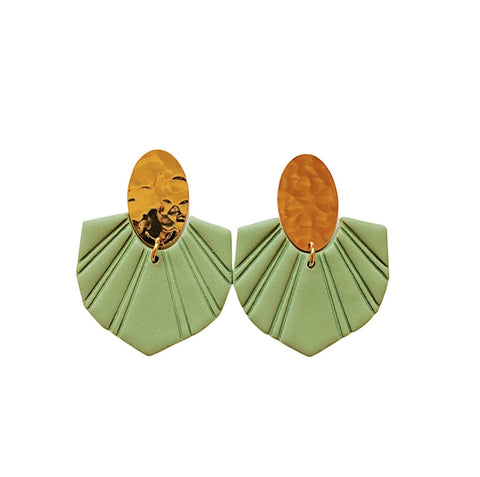 Adele Deep Sage Statement Earrings