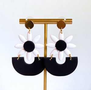 Mia White Daisy Clay Statement Earrings