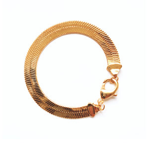 Holly Thick Herringbone Bracelet (Gold-Filled)