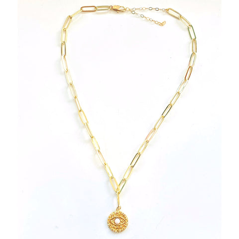 Elizabeth Gold Filled Opal Eye Coin Necklace