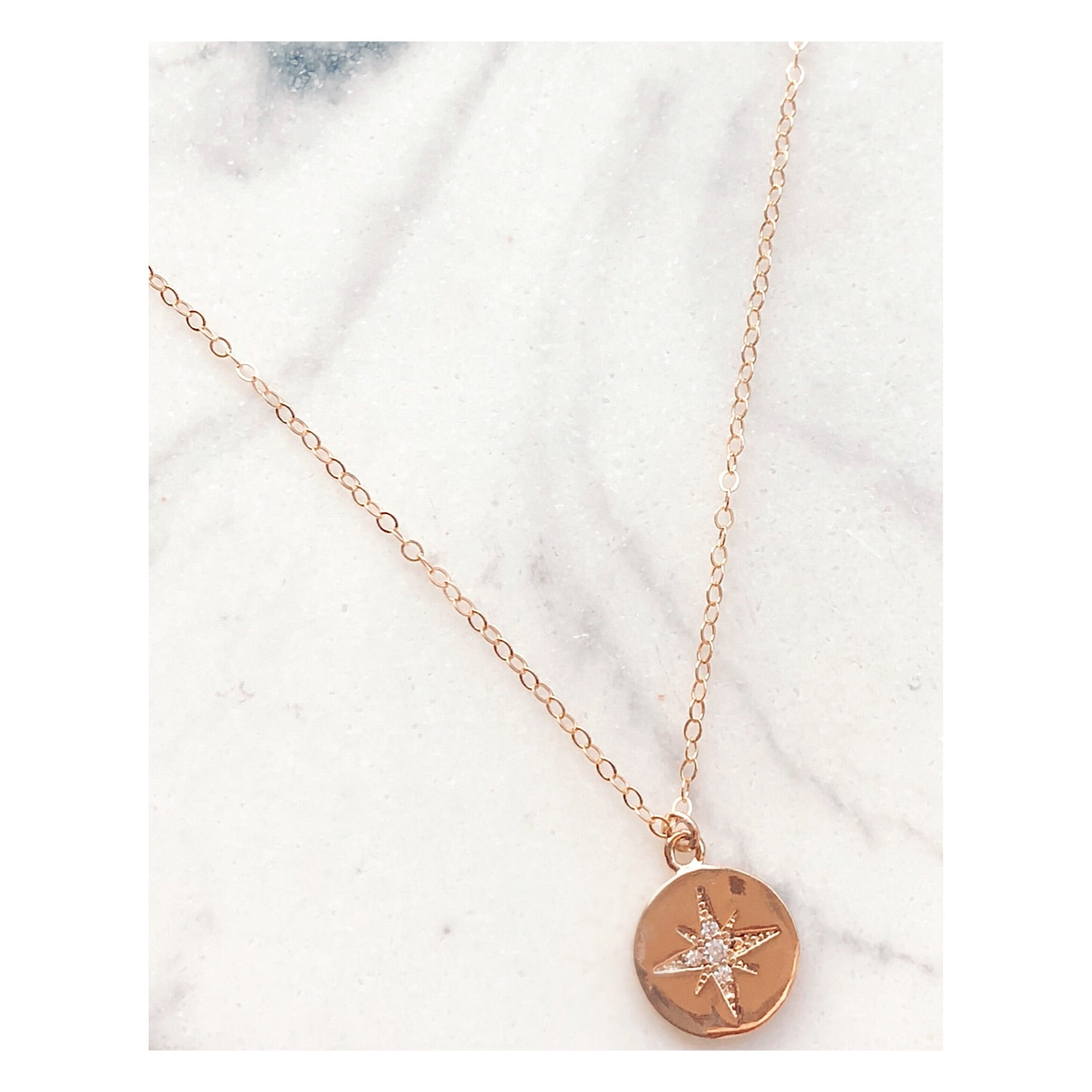 Cole Compass Pendant Necklace (GF)