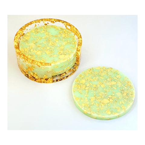Scarlet Mint Green Coaster Set