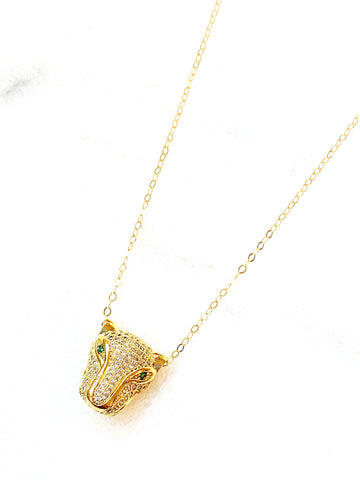 Leo Panther Pave Necklace