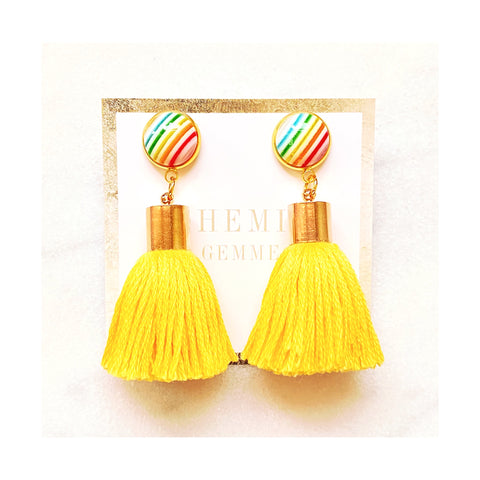 Yellow Rainbow Tassel Earrings