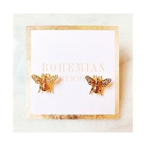 Queen Bees Stud Earrings (Gold-Filled)