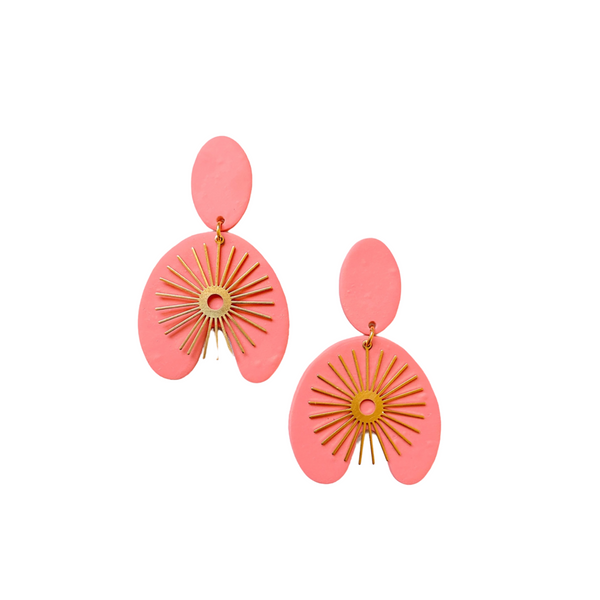 Gene Coral Statement Earrings