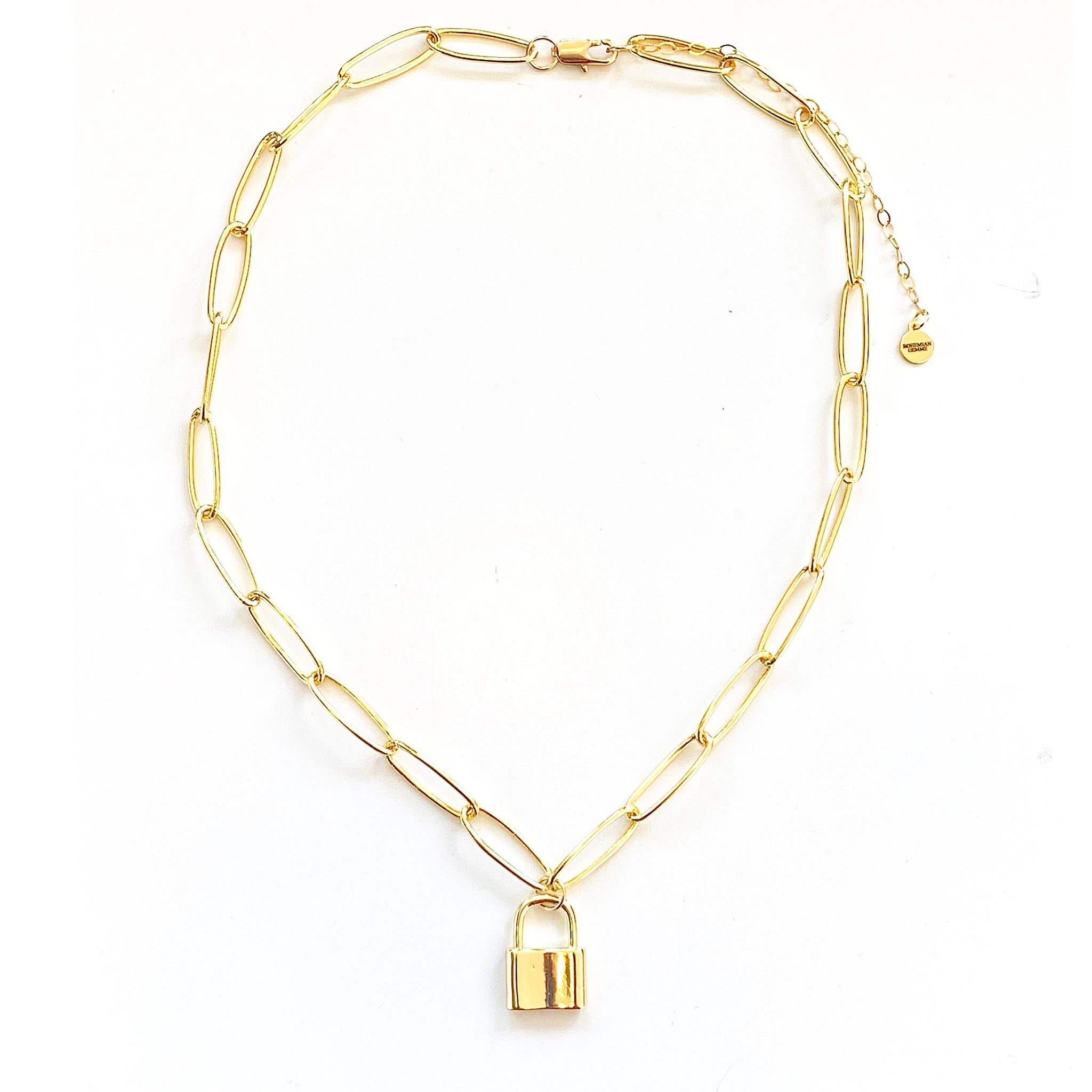 Leo Padlock Gold Filled Oval Linked Chain