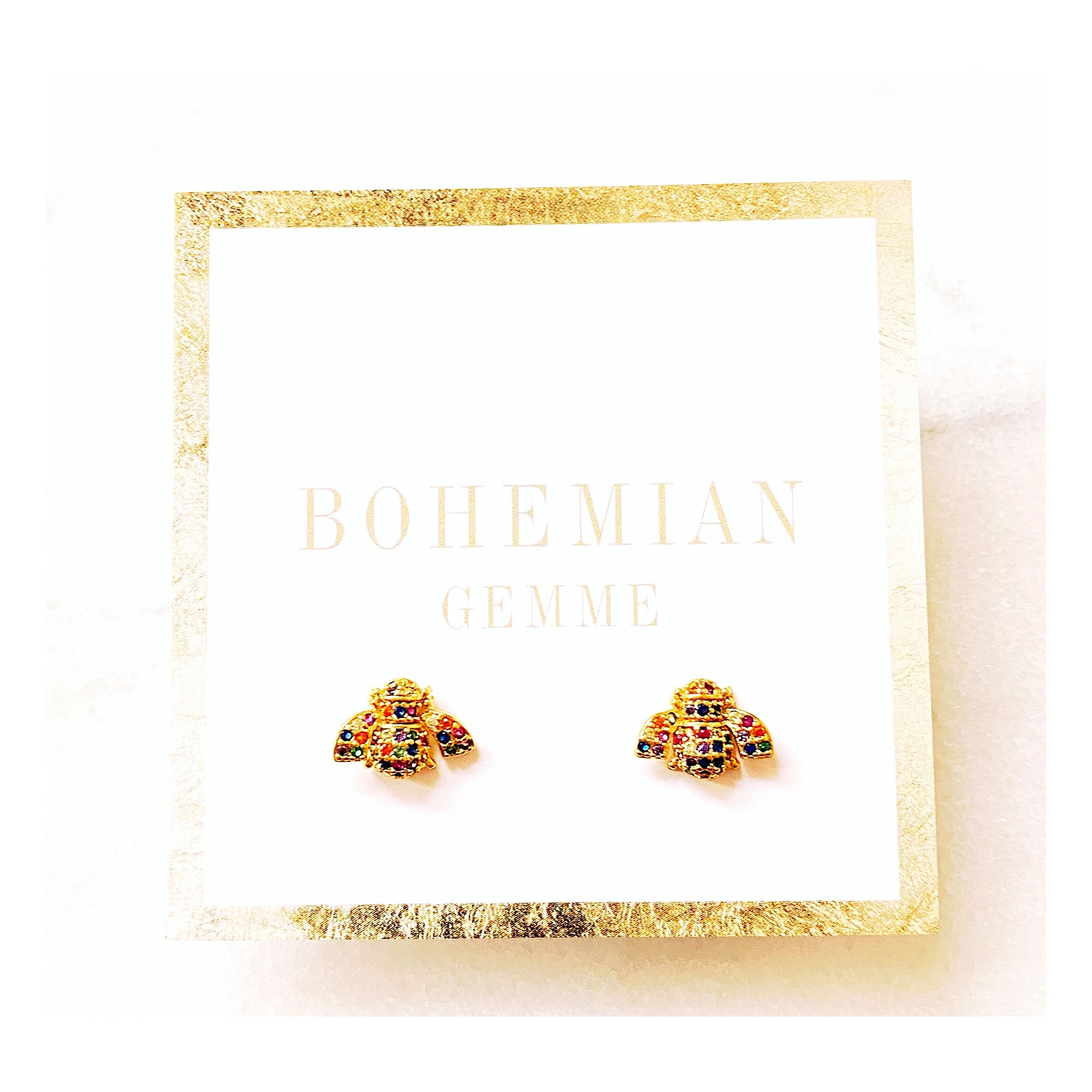 Gold Filled Colorful Bee Studs