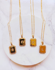 Initial Card Pendant Necklace (Gold-Filled)