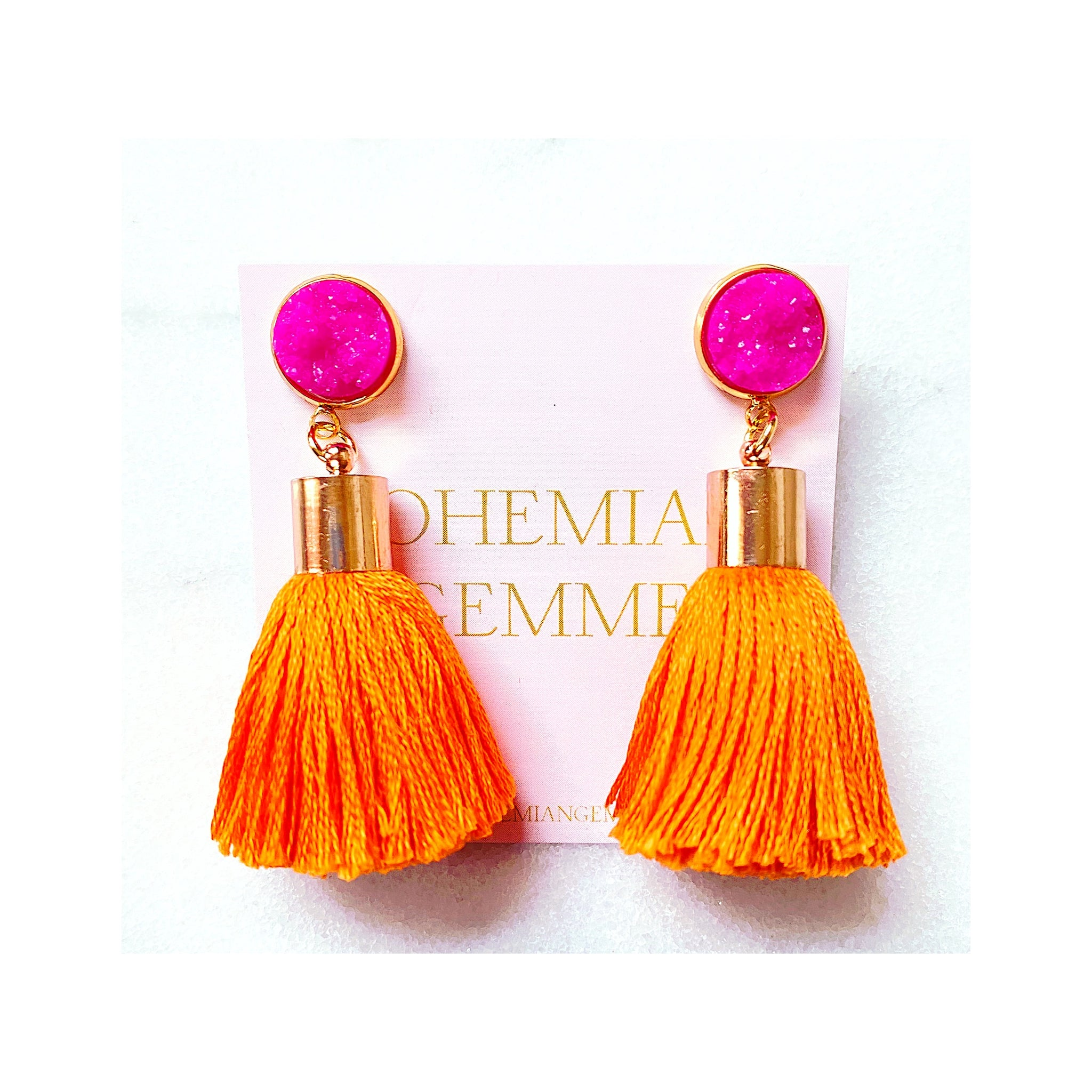 Bright Orange Tassel Earrings