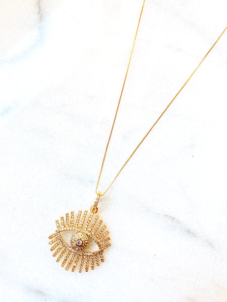 Marlo Pave Eye Pendant Necklace