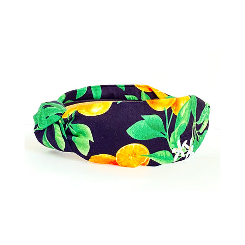 Belle Navy Orange Print Headband