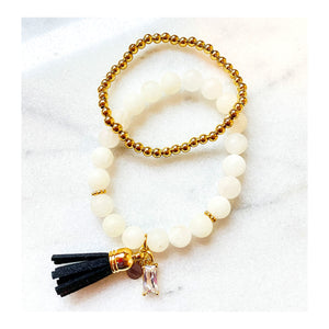 Quartz Beaded Bracelet Set