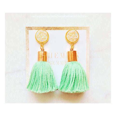 Minty Tassel Earrings