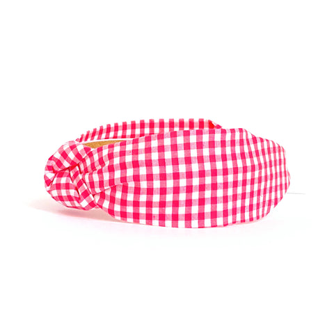 Bright Pink Gingham Headband